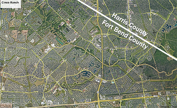 Cinco Ranch Maps showing county boundries